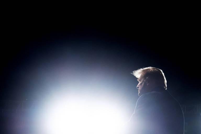 O presidente Donald Trump durante comício em Johnstown, no estado da Pensilvânia