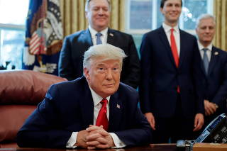 U.S. President Donald Trump speaks about Sudan in the Oval Office at the White House in Washington