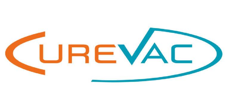 Curevac escrito em laranja e azul