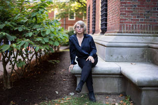 Historian and author Jill Lepore outside the Widener Library at Harvard University, in Cambridge, Mass.