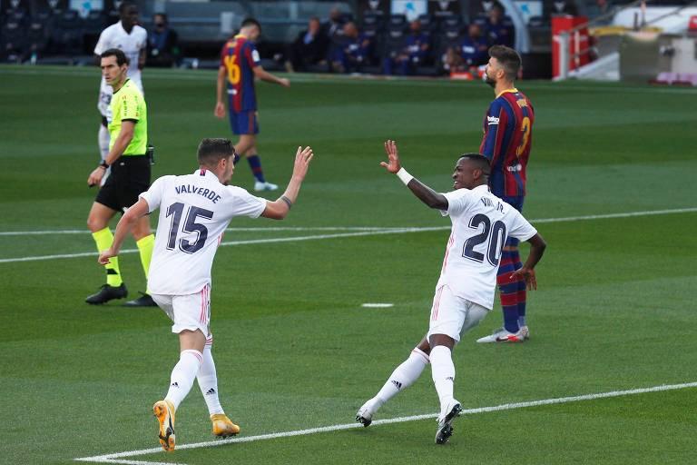 Valverde e Vinicius Junior comemoram primeiro gol do Real Madrid