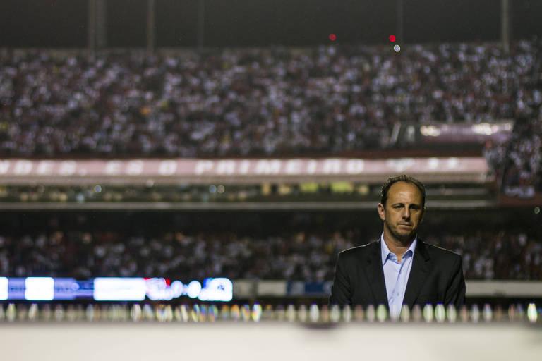 Rogério Ceni como treinador do São Paulo, em 2017, pela Copa do Brasil