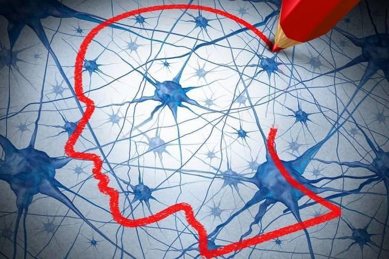 Ilustração de neurônios em azul, sob o perfil de um rosto desenhado em vermelho