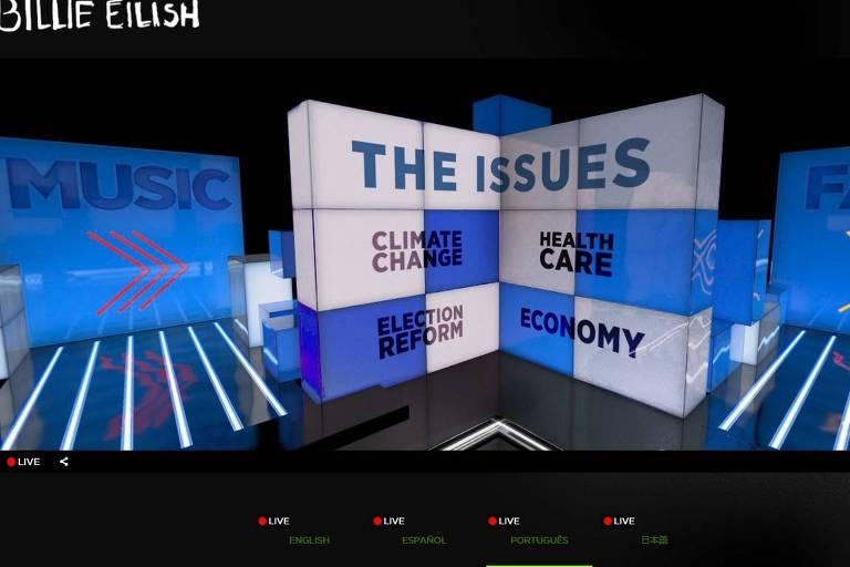 Ambiente virtual da live de Billie Eilish dedicado ao voto nas eleições americanas