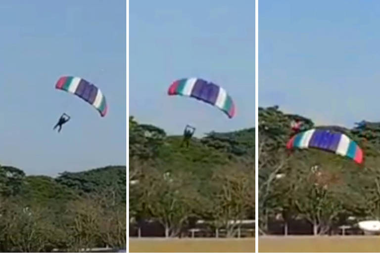 Sequência mostra queda que matou o paraquedista Leandro Torelli, 33, após salto em Boituva (SP)