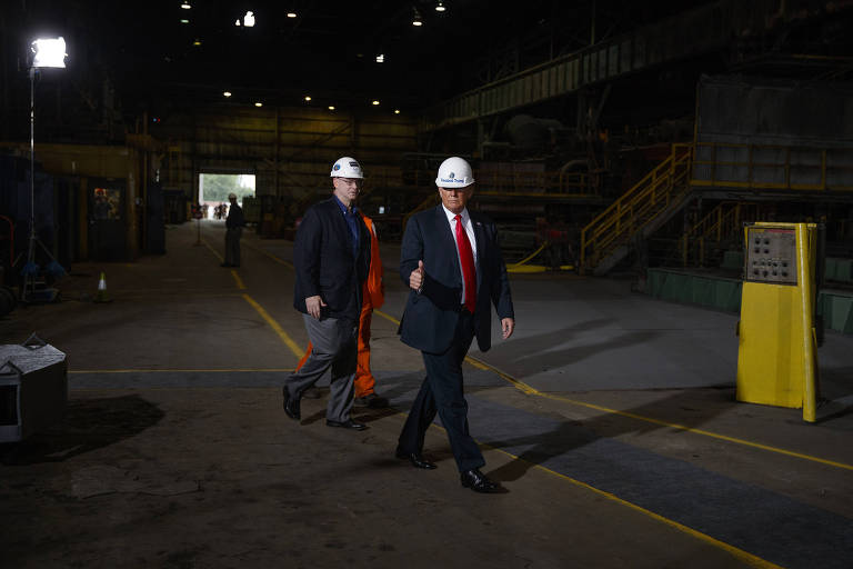 FILE -- President Donald Trump tours Granite City Works Hot Strip Mill, in Granite City, Ill., July 26, 2018. Foxconn?s failure to create the kind of factory powerhouse that Trump described demonstrates how the president?s promise of an American manufacturing renaissance has not always resulted in the pledged jobs or economic investment. (Tom Brenner/The New York Times)