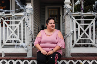 Susan Miller, 42, who says the only time she had ever cast a ballot was for Barack Obama in 2008, at her home in Stroudsburg, Pa., on Oct. 22, 2020. (Hannah Yoon/The New York Times)