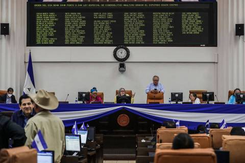 General view of Nicaraguan legislators during the discussion of the Special Cybercrime Law at Nicaraguan Congress in Managua on October 27, 2020. - Nicaraguan Congress approved this Tuesday a cyber-crime law, baptized by the opposition as