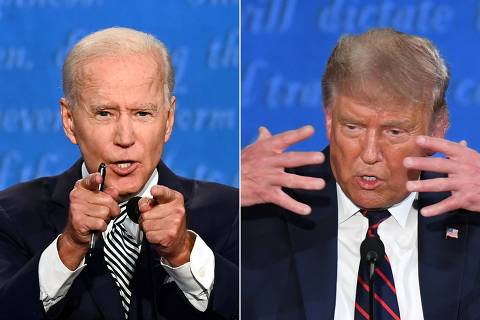 (FILES)(COMBO) This combination of file pictures created on September 29, 2020 shows Democratic Presidential candidate and former US Vice President Joe Biden (L) and US President Donald Trump speaking during the first presidential debate at the Case Western Reserve University and Cleveland Clinic in Cleveland, Ohio on September 29, 2020. - It's been a race like no other: held amid the coronavirus pandemic, economic turmoil, and a national reckoning on race -- and after four turbulent years with Donald Trump as president. Campaign 2020 has also featured a language all its own. Herewith is a look at the lexicon of the battle for the White House between Trump and Democrat Joe Biden, from A to Z. A -- America First. A top Trump mantra. He coined it in the 2016 campaign and still hammers away at it, in word and deed, nearly four years later. (Photos by Jim WATSON and SAUL LOEB / AFP)