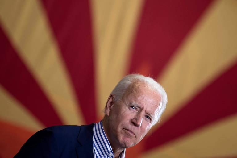 O candidato democrata à Presidência dos EUA, Joe Biden, durante evento de campanha em Phoenix, no Arizona