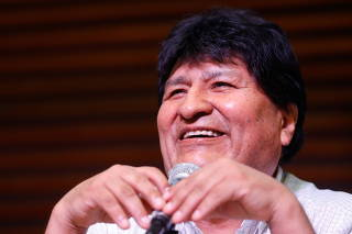 Former Bolivian President Evo Morales holds a news conference in Buenos Aires