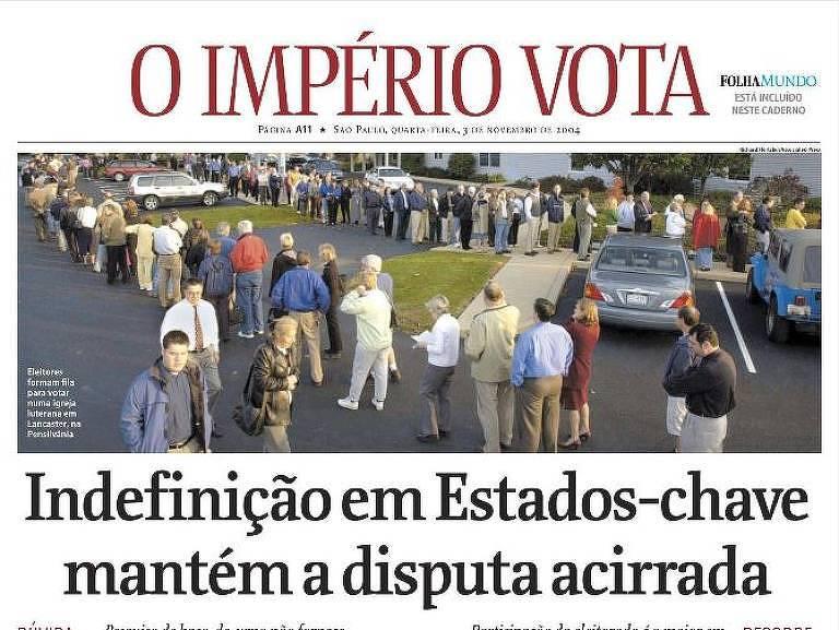 Capa do caderno especial de eleições nos EUA, publicado pela Folha em 3 de novembro de 2004