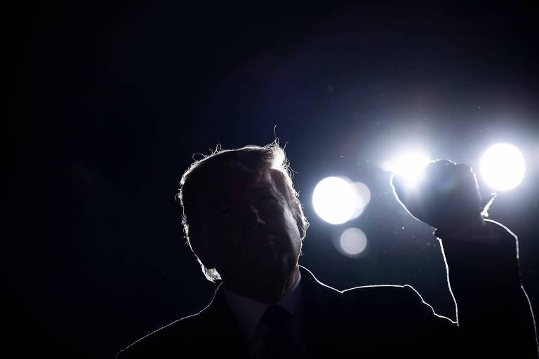 O presidente dos EUA, Donald Trump, durante comício em Omaha, no estado de Nebraska