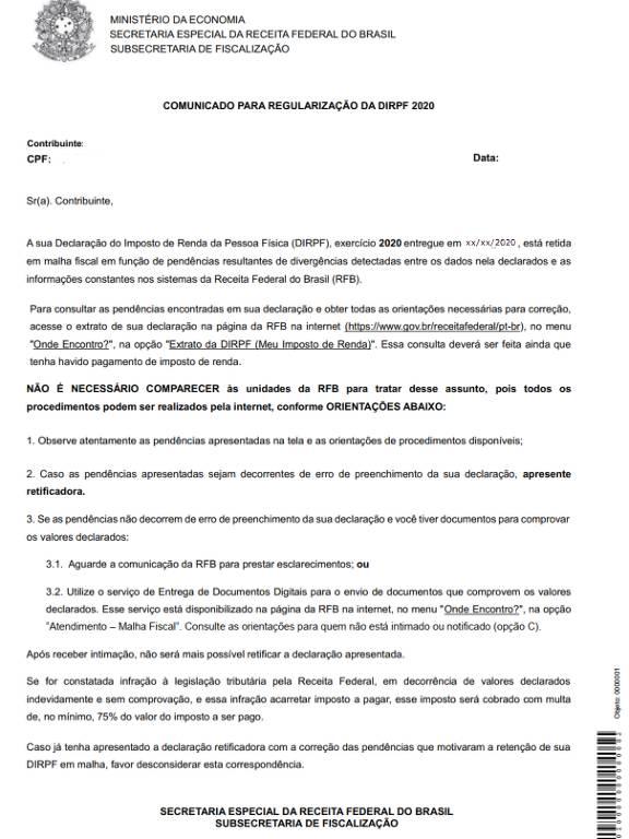 Carta enviada pela Receita Federal para contribuintes que podem regularizar declaração do Imposto de Renda 2020