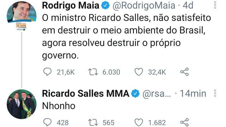 Ministro Ricardo Salles xinga Rodrigo Maia nas redes sociais