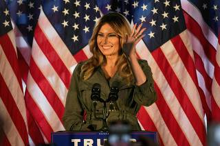 First Lady Melania Trump makes first solo campaign appearance for husband