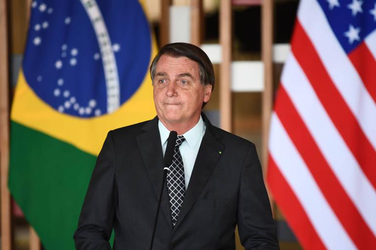 O presidente Jair Bolsonaro durante discurso após encontro com o conselheiro de Segurança Nacional dos EUA, Robert O'Brien, em Brasília