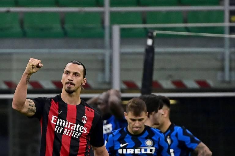 Zlatan Ibrahimovic comemora vitória sobre a Inter de Milão