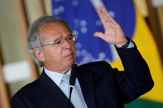 FILE PHOTO: Brazil's Economy Minister Paulo Guedes delivers a statement at the Itamaraty Palace in Brasilia