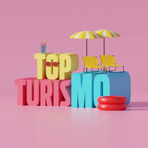 Ilustração da categoria Top Turismo da Folha Top of Mind 2020
