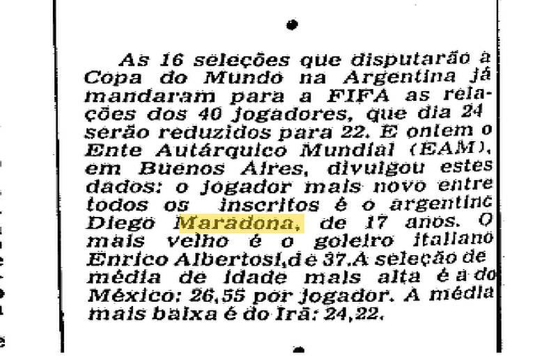 Primeira vez de Maradona nas páginas da Folha