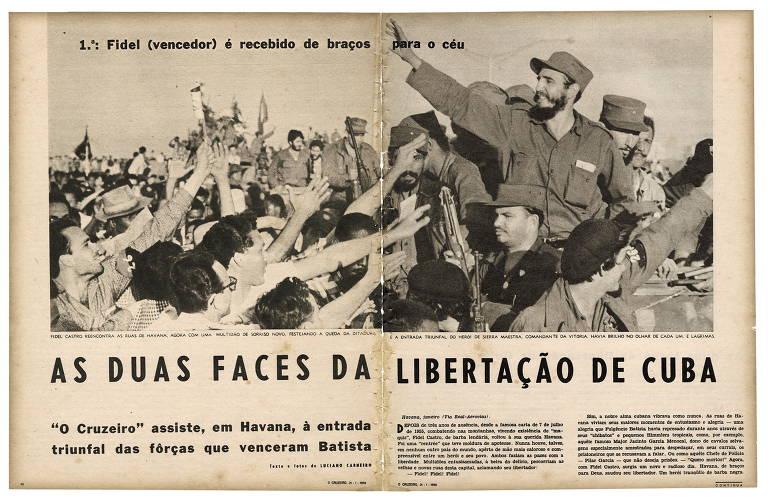 Imagem mostra reprodução da antiga revista O Cruzeiro com reportagem do fotógrafo Luciano Carneiro, da década de 1950