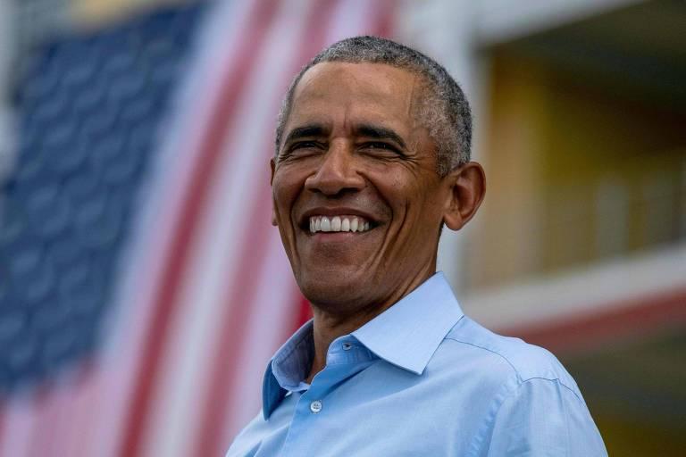Ex-presidente Barack Obama participa de comício para Joe Biden e Kamala Harris em Orlando, na Flórida.