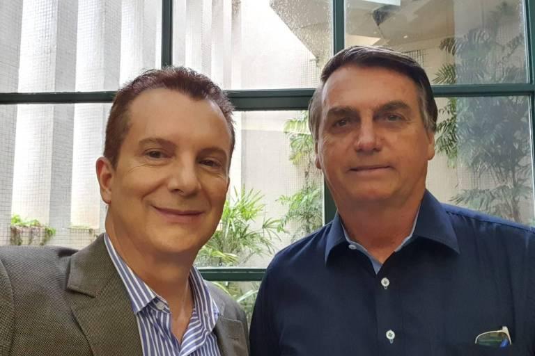 Russomanno e Bolsonaro durante encontro no aeroporto de Congonhas, em São Paulo