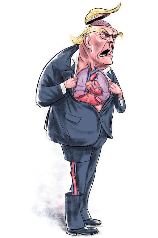 Caricatura de Donald Trump com órgãos expostos. É possível ver o cérebro, os órgãos do tronco e parte da perna direita