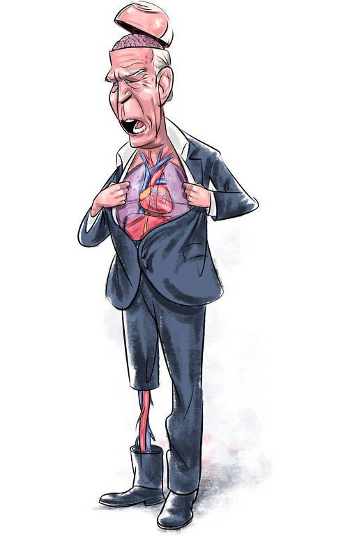 Caricatura de Joe Biden com órgãos expostos. É possível ver o cérebro, os órgãos do tronco e parte da perna esquerda