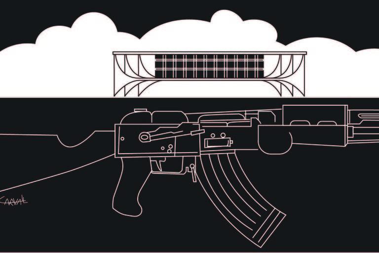 um fuzil em preto e branco; ao fundo uma nuvem