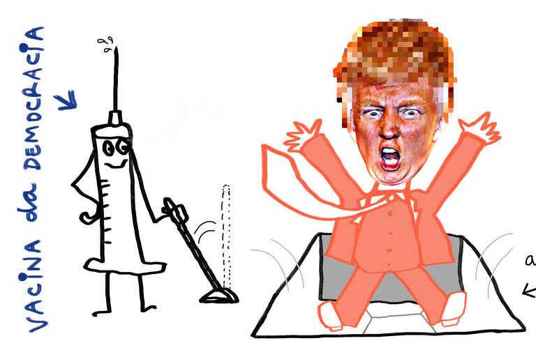"""Ilustração de uma vacina, com a legenda """"vacina da democracia"""", puxando uma alavanca. Esta alavanca abre um alçapão embaixo de Donald Trump que está caindo com os braços levantados"""