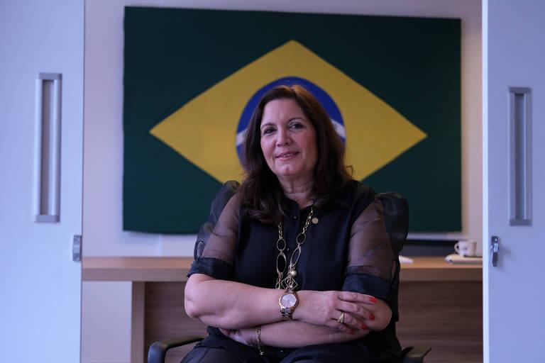 A deputada federal Bia Kicis (PSL-DF) durante entrevista em seu escritório, em Brasília