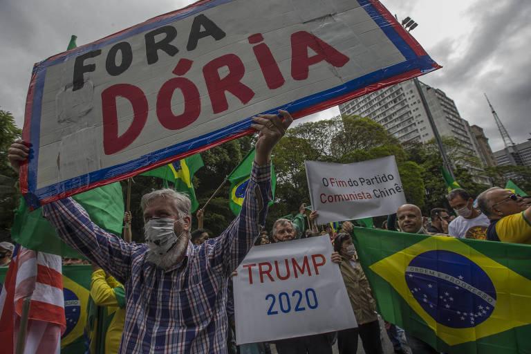 Ato neste domingo (1º) na avenida Paulista com pautas contra vacina, Doria, Covas, comunismo, China e pró-Trump