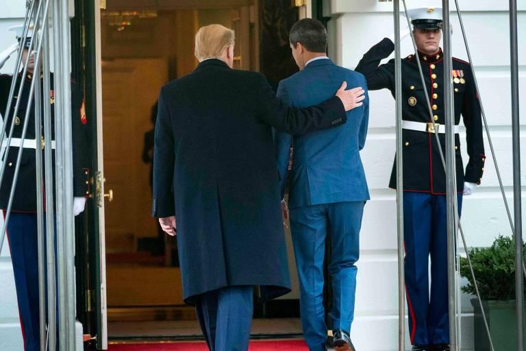 O presidente dos EUA, Donald Trump, e o líder opositor da Venezuela, Juan Guaidó, durante encontro na Casa Branca, em fevereiro