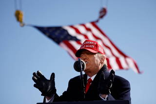 U.S. President Donald Trump holds a campaign rally at Fayetteville Regional Airport in Fayetteville