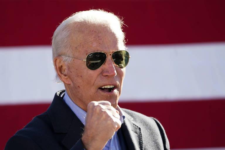 O candidato democrata, Joe Biden, discursa durante evento de sua campanha na cidade de Monaca, na Pensilvânia