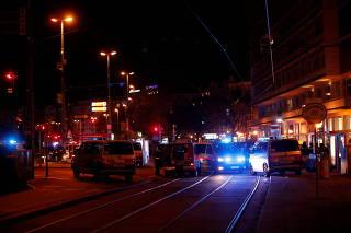 Polce blocks a street near Schwedenplatz square after a shooting in Vienna