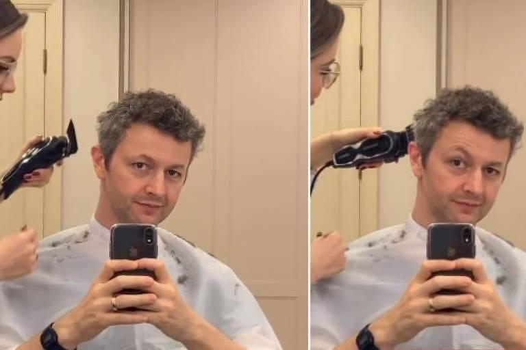 Lucas Lima tem cabelo cortado por Sandy