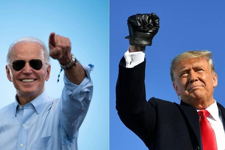 Biden e Trump em eventos no final da campanha eleitoral deste ano, na Florida e em Wisconsin, respectivamente