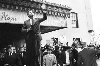 Then Sen. John F. Kennedy (D-Mass.) campaigns for the White House in New York, on Nov. 5, 1960. (Meyer Liebowitz/The New York Times)