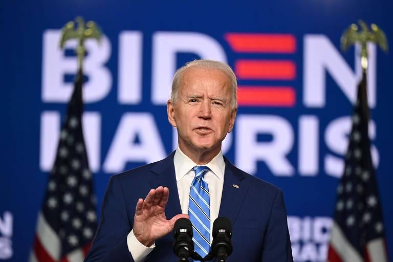 Joe Biden, presidente eleito dos EUA, durante discurso no dia seguinte à eleição