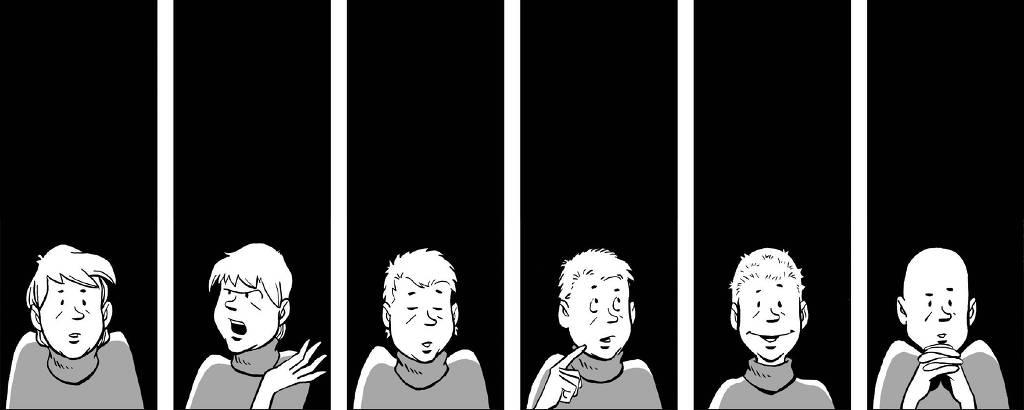 Ilustração que está também na capa do livro mostra uma sequência de 6 desenhos preto e branco em que a mãe vai ficando careca e mudando de expressão