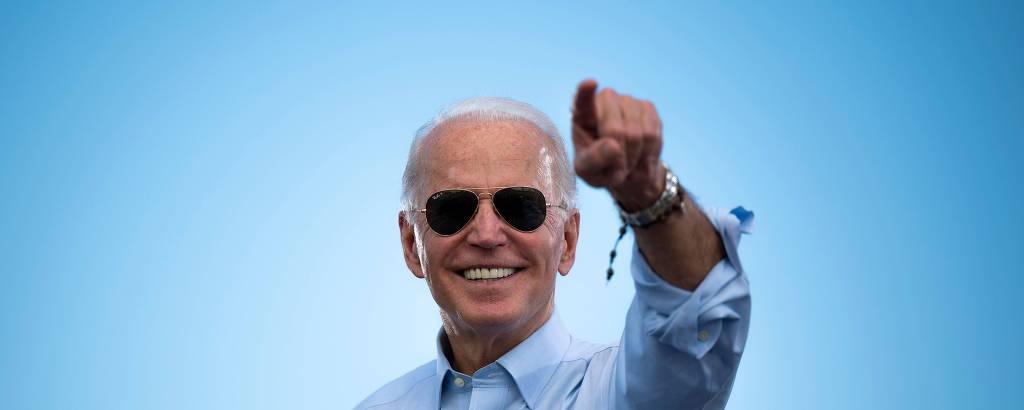 O presidente eleito dos EUA, Joe Biden, durante comício em Coconut Creek, na Flórida