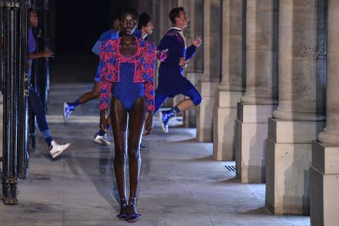 A model presents a creation by Isabel Marant during the Womenswear Spring Summer 2021 as part of the Fashion Week in Paris on October 01, 2020. (Photo by Lucas BARIOULET / AFP)