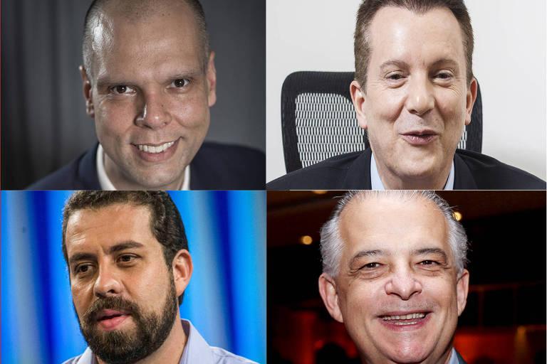 Mosaico dos candidatos a prefeito de São Paulo, em cima, da esquerda pra direita, Bruno Covas, Celso Russumanno, Guilherme Boulos e Márcio França