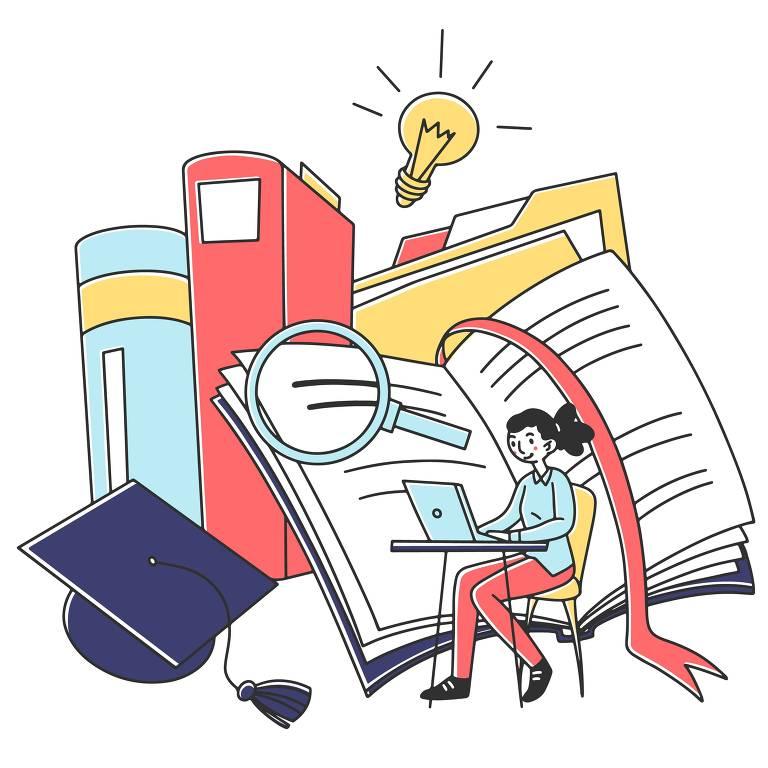 Ilustração de menina sentada em carteira escolar mexendo em notebook. Atrás dela, desenhos de livros, lupa e chapéu de formatura