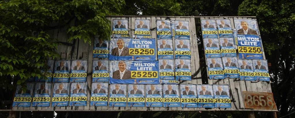 Pôsteres do vereador Milton Leite (DEM) na zona sul de São Paulo