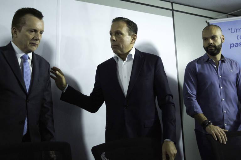 Celso Russomanno com João Doria e Bruno Covas em evento para anunciar apoio do seu partido ao PSDB na eleição de 2018