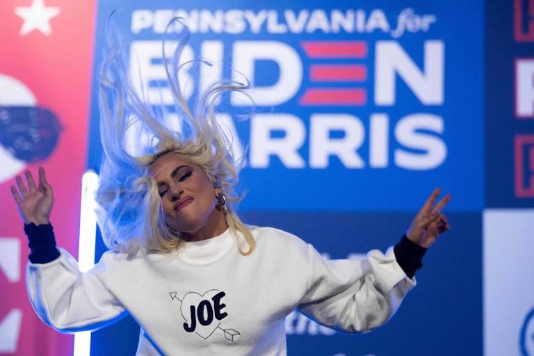 A cantora Lady Gaga em comício de Joe Biden